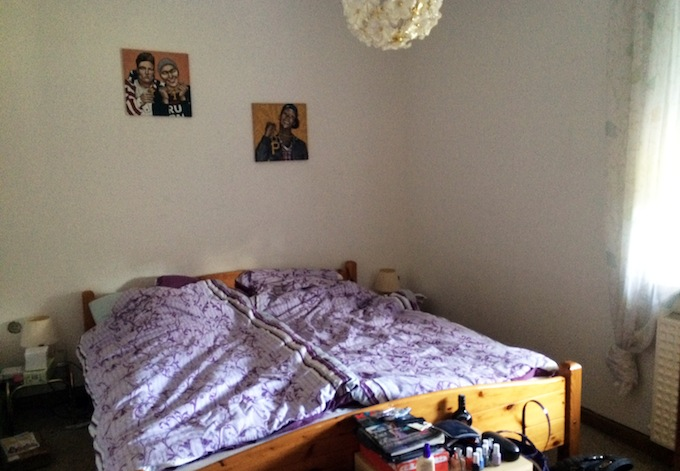 bedroom (with my paintings on the wall!)