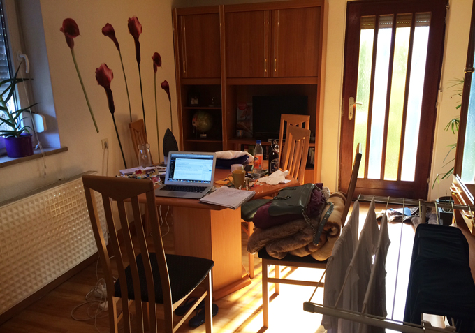 living room/my work space for writing and painting