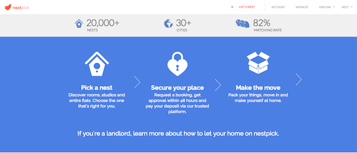 a screenshot of the nest pick.com website